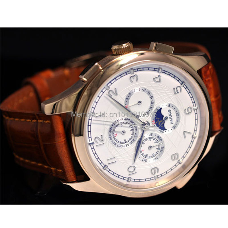 44mm parnis white dial gold plated case week day date Moon Phase multifunction automatic mens watch 19 все цены