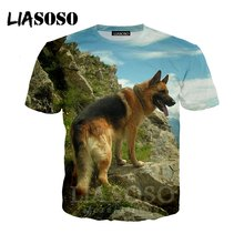 Anime 3d imprimir camiseta Homens Mulheres top t-shirt Harajuku homme Pastor Cão novo animal t camisas de manga Curta do punk homme tshirt E545(China)