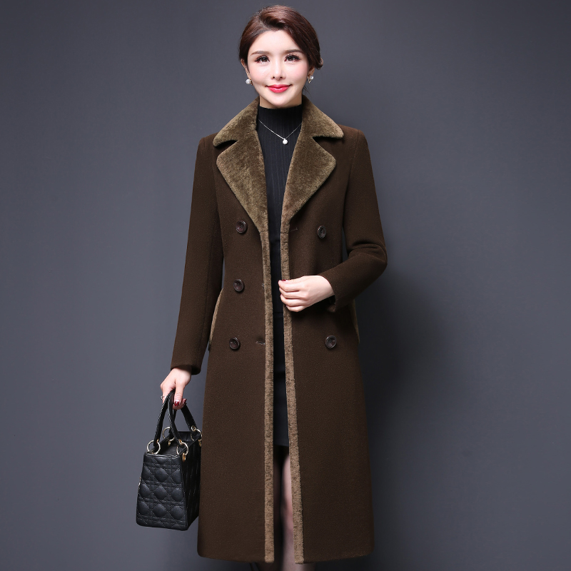 High Quality 2018 Fashion Autumn Winter Women Work Wear Fashion Coat Thick Wool Female Woolen Long Mid Old Age Women Clothing