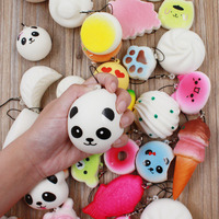 30pcs Squishy Phone Straps Slow Rebound Cute Mini Kawaii Decompression Jumbo Panda Bun Cute Soft Bread