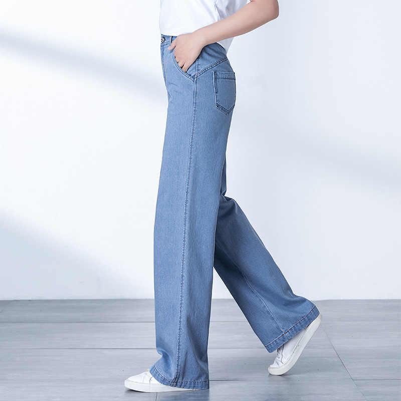 2019 Yeni kadın Rahat Düz Kot Moda Geniş Bacak Yumuşak Rahat Orta Bel Pantolon İlkbahar Yaz Için S 5XL Mavi