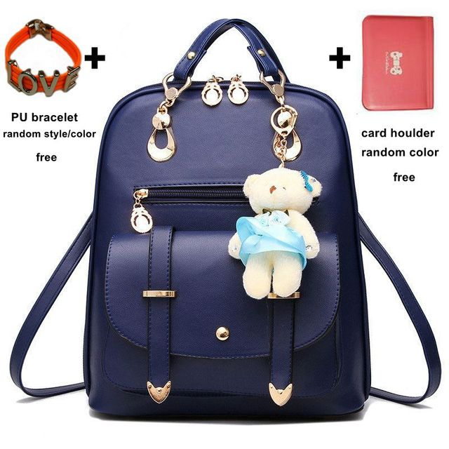 2016 New Fashion Girls Bear Bag Women Ladies Schoolbag PU Leather Backpack  Shoulder Bag Rucksack with Free Extra Gifts MB146 488448db6fc7f