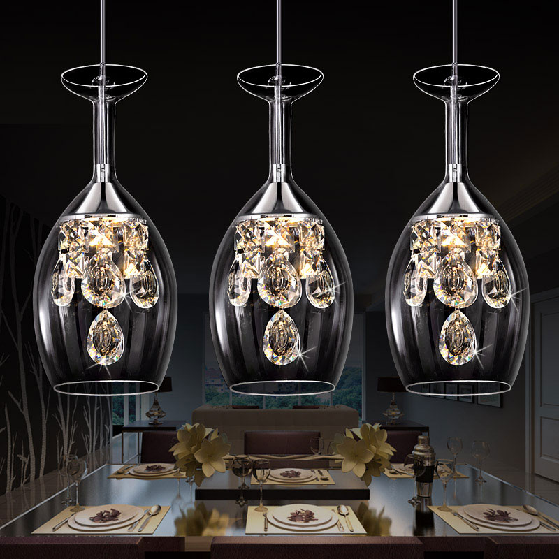 ФОТО LED Crystal hanging lamp restaurant lamp dining room table lamp table personality creative three simple post modern