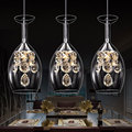 LED Crystal hanging lamp restaurant lamp dining room table lamp table personality creative three simple post modern