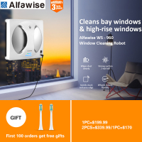 Alfawise 2800PA Automatic Remote Control Smart Window Cleaning Robot Magnetic Vacuum Cleaner Anti Slip Washing Glass Machine LCD