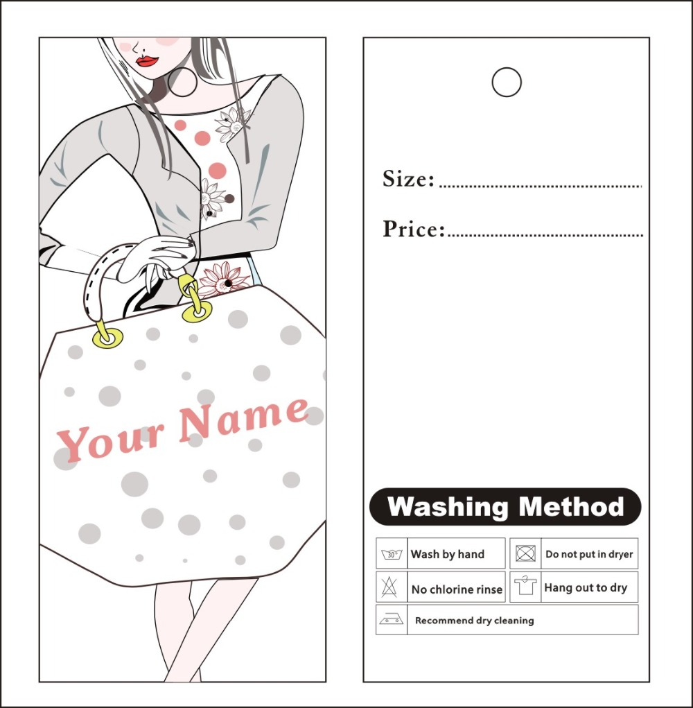 Custom Print Hang Tags Price Label Famous Template 007 Clothes Ng Dress