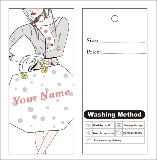 Custom Print Hang Tags Price Label Famous Template 007 Clothes Packing Label  ,dress Label 007  Packing Label Template