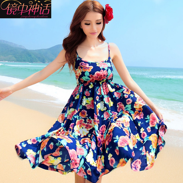 695ac82df70 2014 new bohemia one-piece beach dress spaghetti strap design fancy sweet short  dress