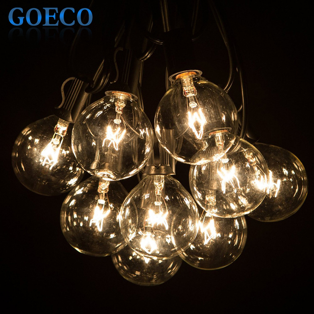 50Ft Globe String Lights G50 50 Clear Globe Bulbs 220/110V Black Wire, UL