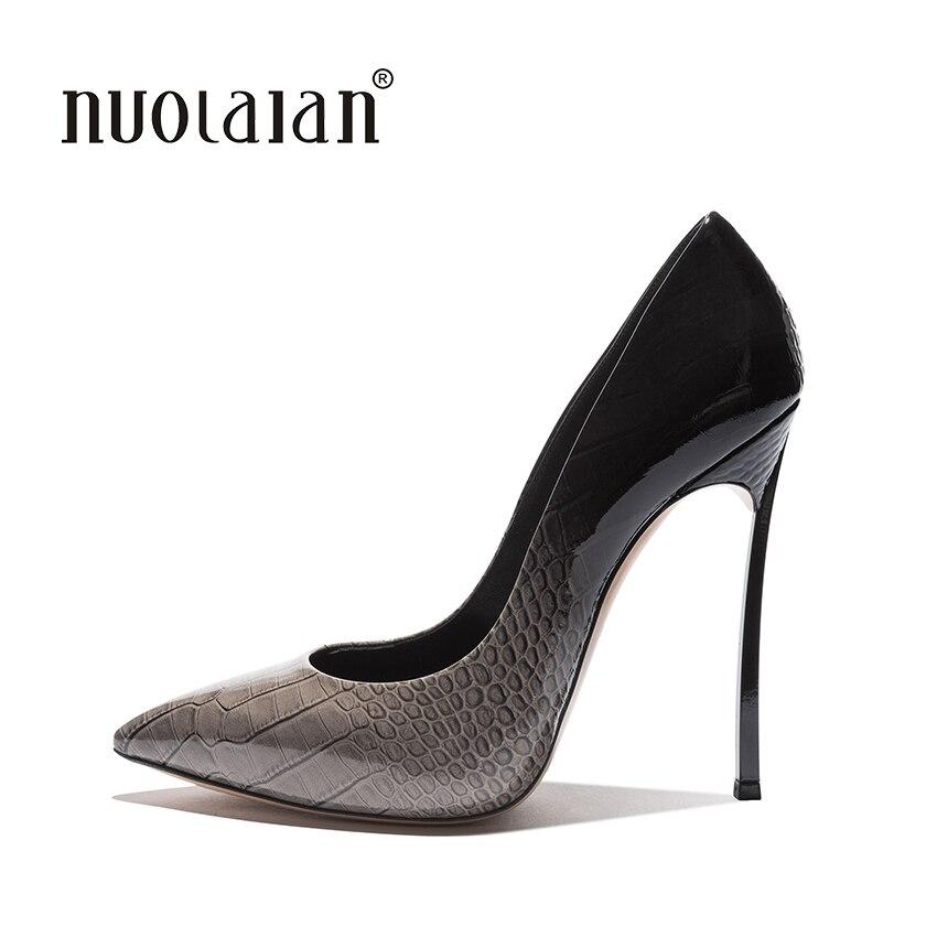 Chaussures femmes talons hauts femmes escarpins talons aiguilles 12 CM chaussures Sexy femme talons hauts en cuir verni bout pointu talons hauts