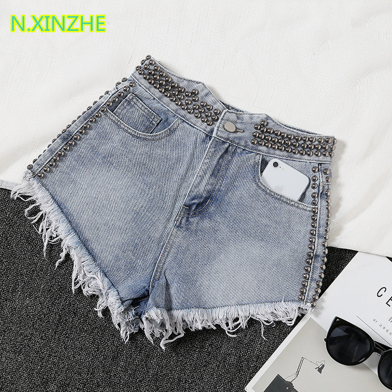 2019 Women Clothing High Waist Rivet Tassel Solid Washed Pure Cotton Jeans Female Fashion Casual Loose Wide Leg Denim Shorts