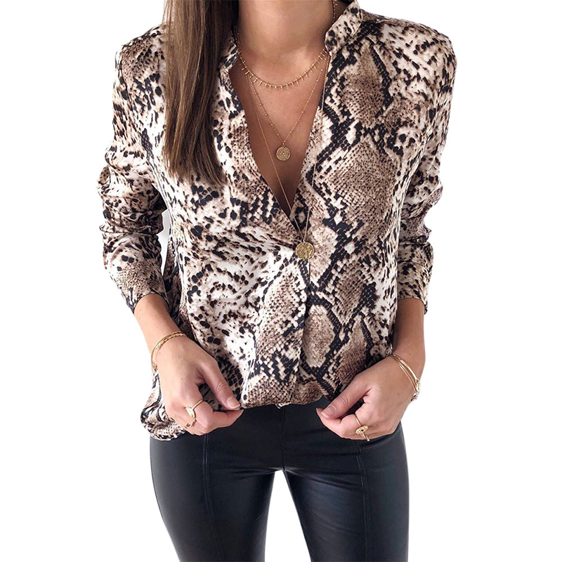 Snake Skin Print Silk   Blouse   Women   Shirts   Long Sleeve Tops Female Tunic 2019 Vintage Fall Casual Satin   Blouses   Snakeskin
