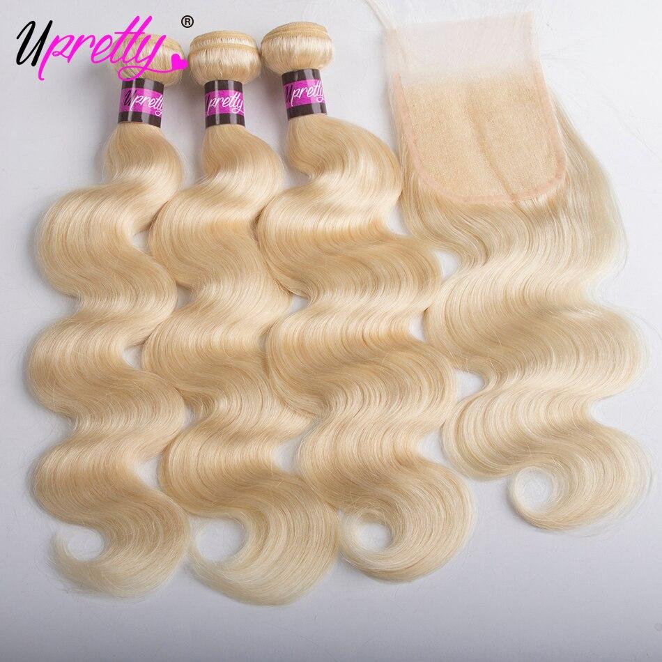 Upretty волосы индийский объемная волна 3 Связки с закрытием Бесплатная средняя часть 4 шт./лот 613 блондинка Цвет человеческих волос с закрытием