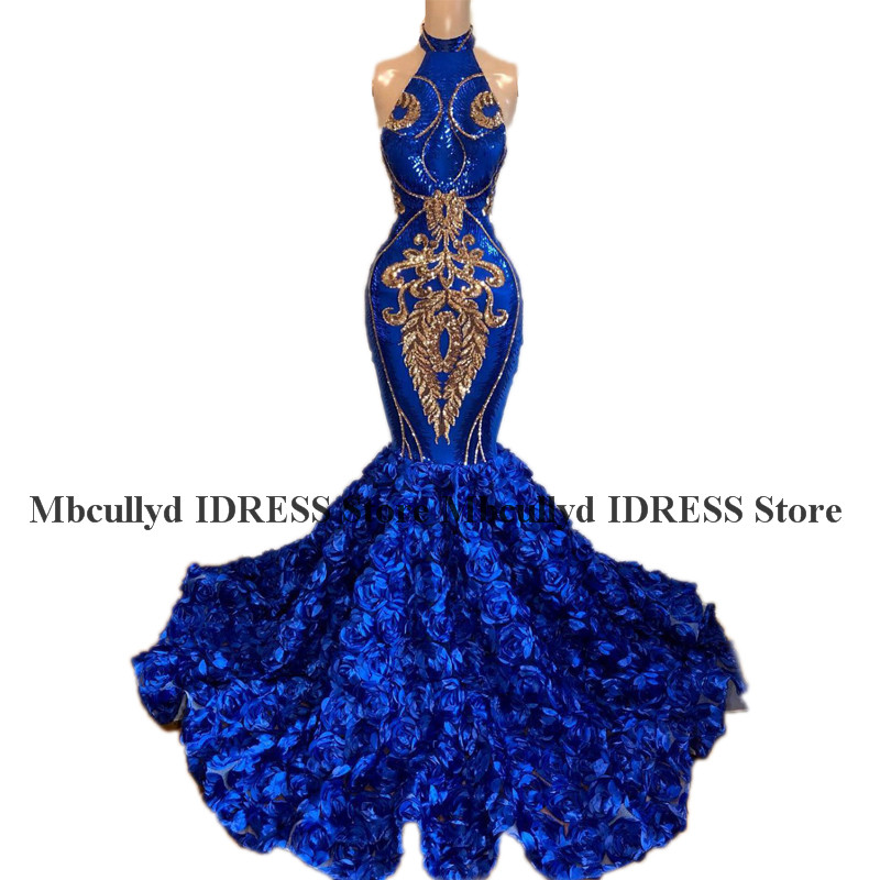 Us 2190 Royal Blue Mermaid 3d Rose Flowers Prom Dress For Black Girls High Neck Gold Sequined African Formal Evening Dress Plus Size In Prom