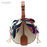 Women Straw Bag Crossbody Bags For Girls Fashion Scarves Round Saddle Bag Rattan Woven Shoulder Messenger