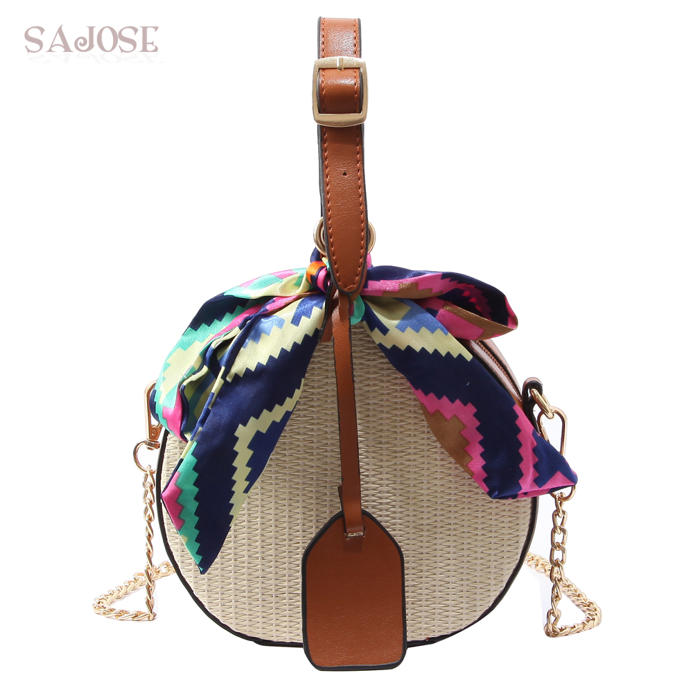 Women Straw Bag Crossbody Bags For Girls Fashion Scarves Round Saddle Bag Rattan Woven Shoulder Messenger Bags Lady Tote Handbag