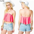 Hot Chiffon Mulheres Off-ombro Strapless Plissado Sexy Colheita Bustier Partido Tanque Casual Tops 25