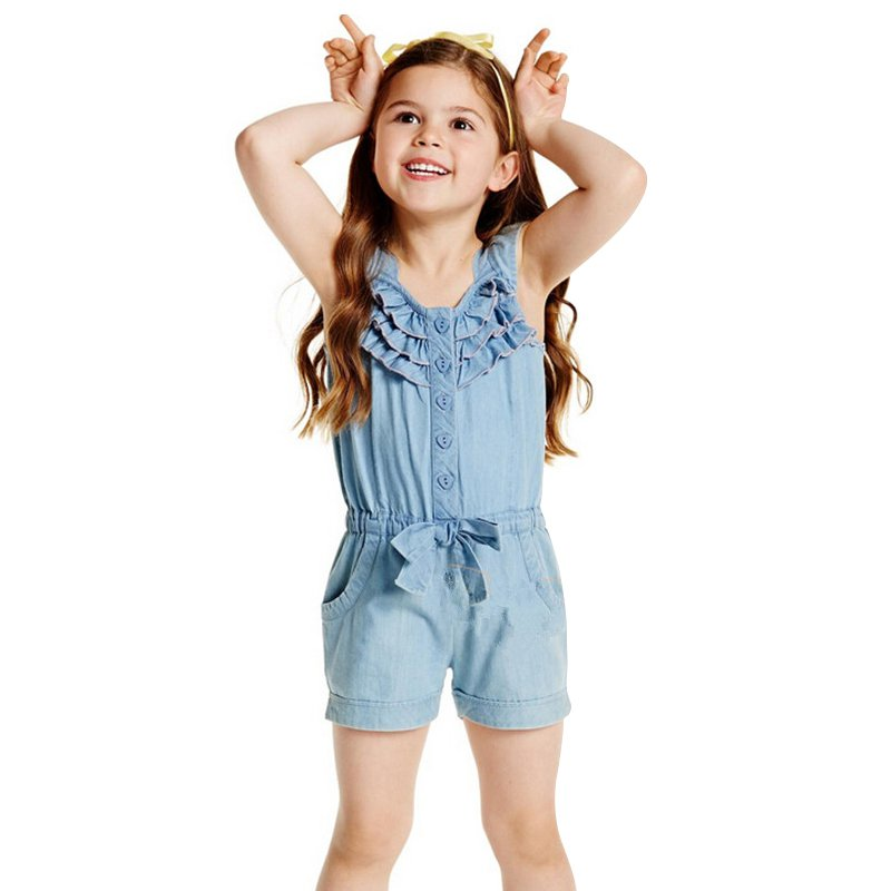 0 5Y Children 39 s Clothing Spring Summer Autumn Girls Denim Overalls Blue Jean Overalls For Kids Girls Rompers Hot in Overalls from Mother amp Kids