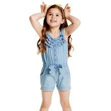 0-5Y Children's Clothing Spring Summer Autumn Girls Denim Overalls Blue Jean Overalls For Kids Girls Rompers Hot цены онлайн