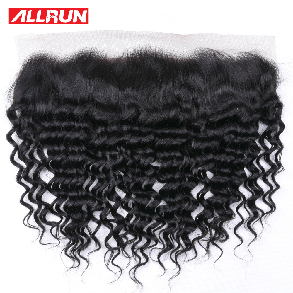 Allrun Hair Peruvian Deep Wave Human Hair Lace Frontal Closure PrePlucked 13x4 Ear To Ear Full Lace Closure Human Hair Extension