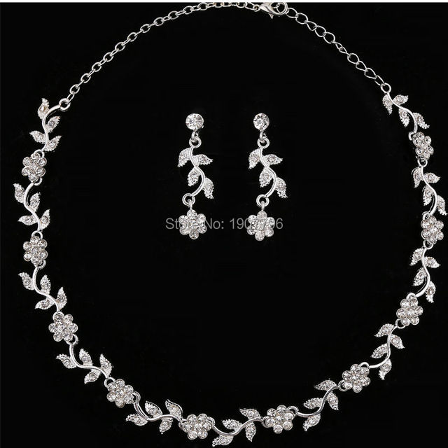 Crystal Wedding Bridal Bridesmaid Jewelry Sets Alloy Necklace Earrings