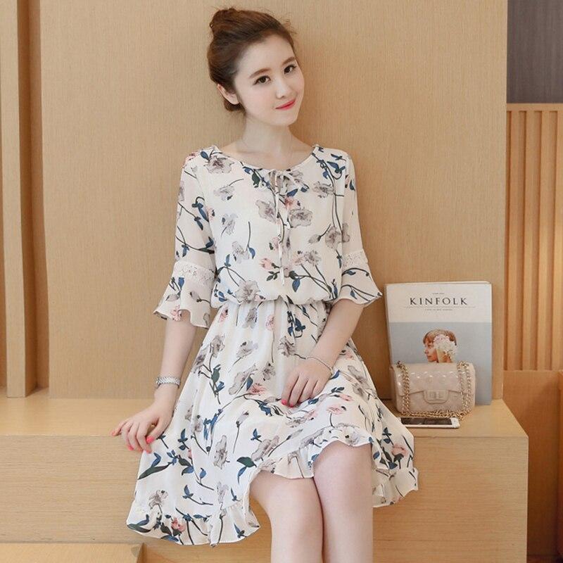 Summer Women Dress flower Print Cloth Casual Sexy A Line Fashion Beach Dress girl Flare sleeve chiffon dress sexy summer dress