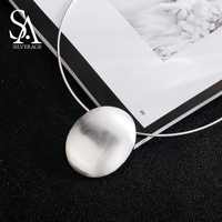 SA SILVERAGE 925 Sterling Silver Oval Choker Necklace Chocker Necklaces Fine Jewelry For Women Collier Femme
