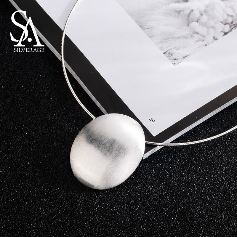 SA SILVERAGE 925 plata esterlina Oval gargantilla collar Chocker collares fina joyería para las mujeres collier femme 8,81g/35mm * 44mm - 4