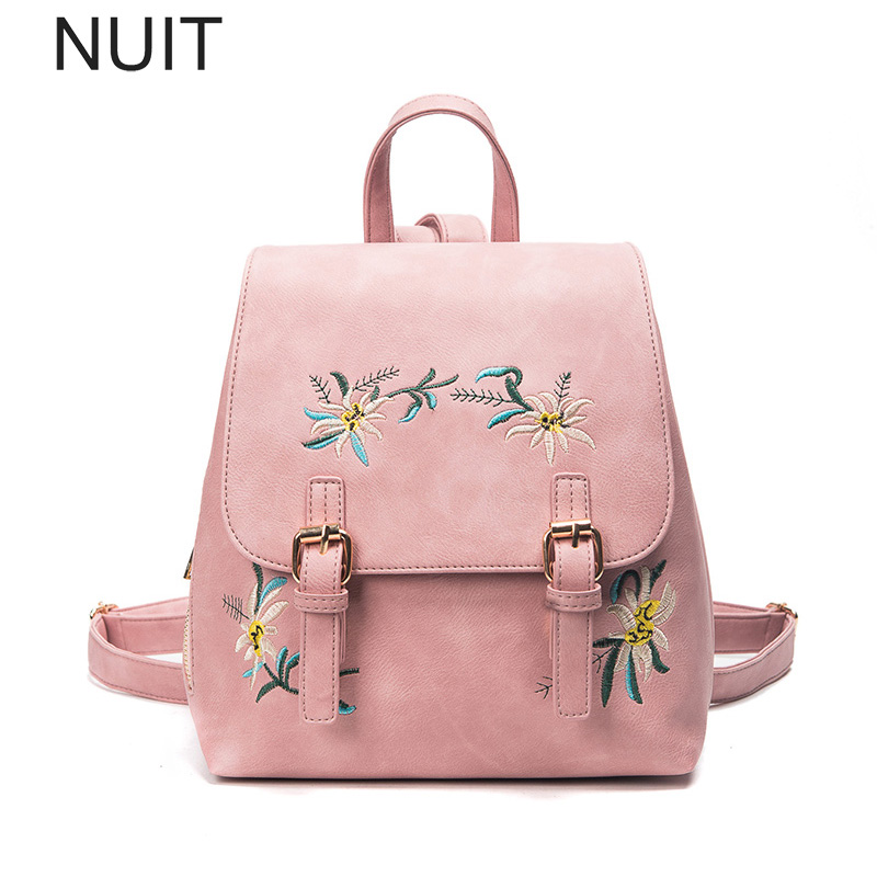 Embroidery Flower Women Backpack Female PU Leather Backpacks School Bags for Teenagers Girl Wind Women Bagpack Rucksack