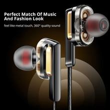 Наушники 4D с тяжелыми басами, двойные динамические наушники с шумоподавлением, спортивные Hifi наушники, наушники для Xiaomi samsung A50