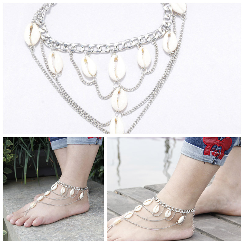 1PC Ladies Multilayer Tassel Anklet Chain Bracelet Foot Jewelry with Shell Decor