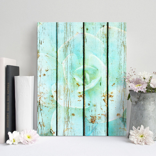 Art Print Oil Painting Succulent Flowers Framed Wood Pattern Home ...
