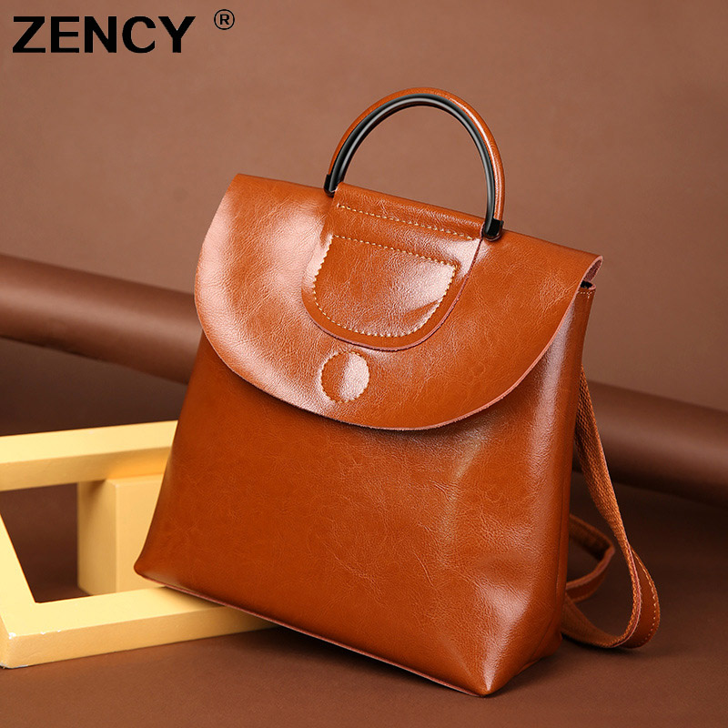 ZENCY New Vintage Classic Fashion Oil Wax Cowhide Real leather Women's Backpacks Female Genuine Leather Ladies Backpack Bags genuine leather backpack for women real natural cowhide female backpacks fashion street cowhide bags girlfriend s birthday gift