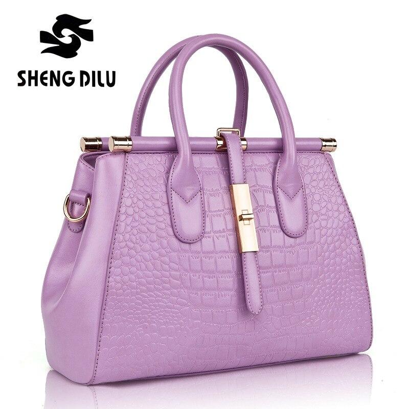 ФОТО ShengDiLu 2017 Fashion Office Handbag Women messenger Shoulder bags Genuine Leather handbags Female High Quality New Brand 1165