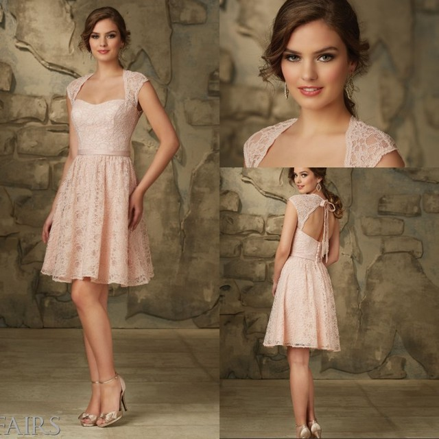 6cd96b5f0b8 New Arrival Country Style Bridesmaid Dresses Open Back Short Lace  Bridesmaid Dress A Line Pink Bridesmaid Dresses