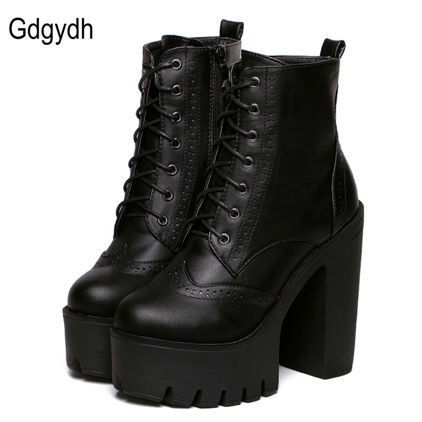 ФОТО Gdgydh Hot Sale Black Square Heels Platform Boots Ankle Boots Female Lace Up Women Shoes Fashion 2017 Spring Autumn New Brand