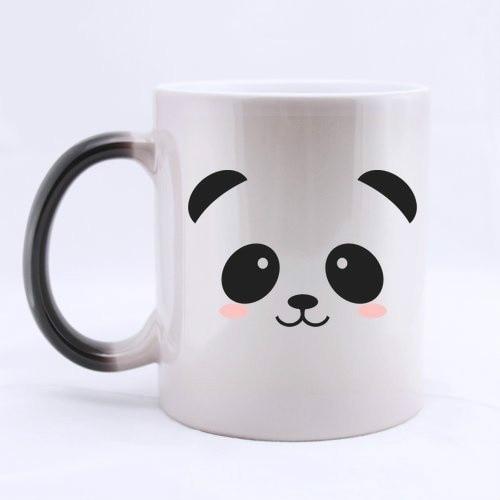 Cute Panda Mugs Panda Cup Cold Hot Heat Sensitive Mug Heat Transforming Heat Changing Color Ceramic Coffee Cup