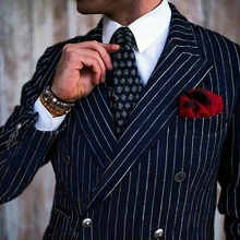 Navy Blue Stripe Double Breasted Elegant Suit