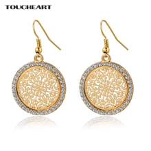 TOUCHEART Fashion Crystal Hollow Pendant Earrings For Women Gold color Flower carving Ethnic Earrings Jewelry Pendientes Mujer(China)