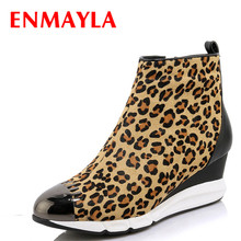 Airfour New Ankle Boots for Women High Heels Wedges Shoes Woman Sexy Leopard Platform Winter Zippers Fashion