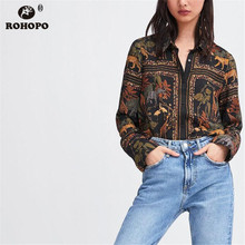 ROHOPO Women Long Sleeve Animals Blouse Vintage Printed Buttons Fly Retro Black Slim Body Top Shirt #