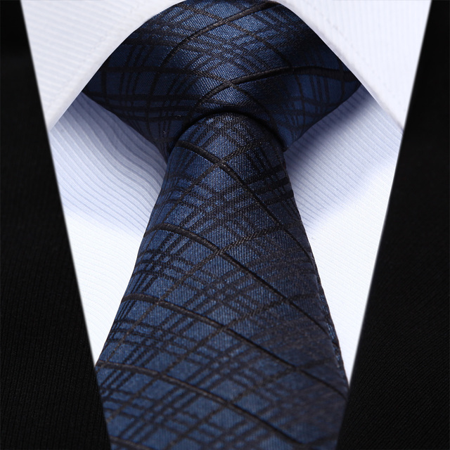 "TZC05V6 Azul Marino Negro Cheque Delgado Estrecho 2.6 ""100% Natural Seda Hombres Corbata del lazo Lazo de La Boda Del Partido"