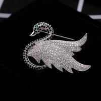 Cubic Zirconia Swan Spilla Broccia Pin Per Le Donne Rinestone Cristalli Dei Monili della ragazza Regalo AAA CZ 1231