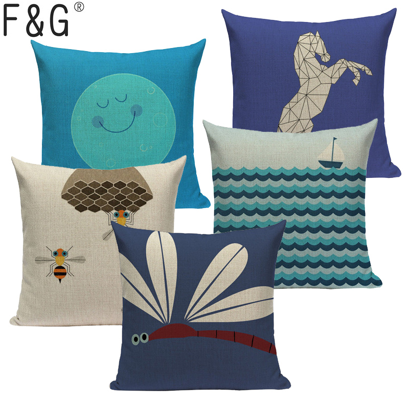 High Quality Cartoon Animal Plant Cushion Cover Linen Cotton Printed Pillow Case Sofa Bed Chair Home Decor Throw Pillow Cover Power Source