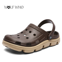 534f900a3 Men Casual Shoes Summer Sandals Mules Clogs Light Breathable Beach Slippers  Men Water Shoes Hollow Jelly