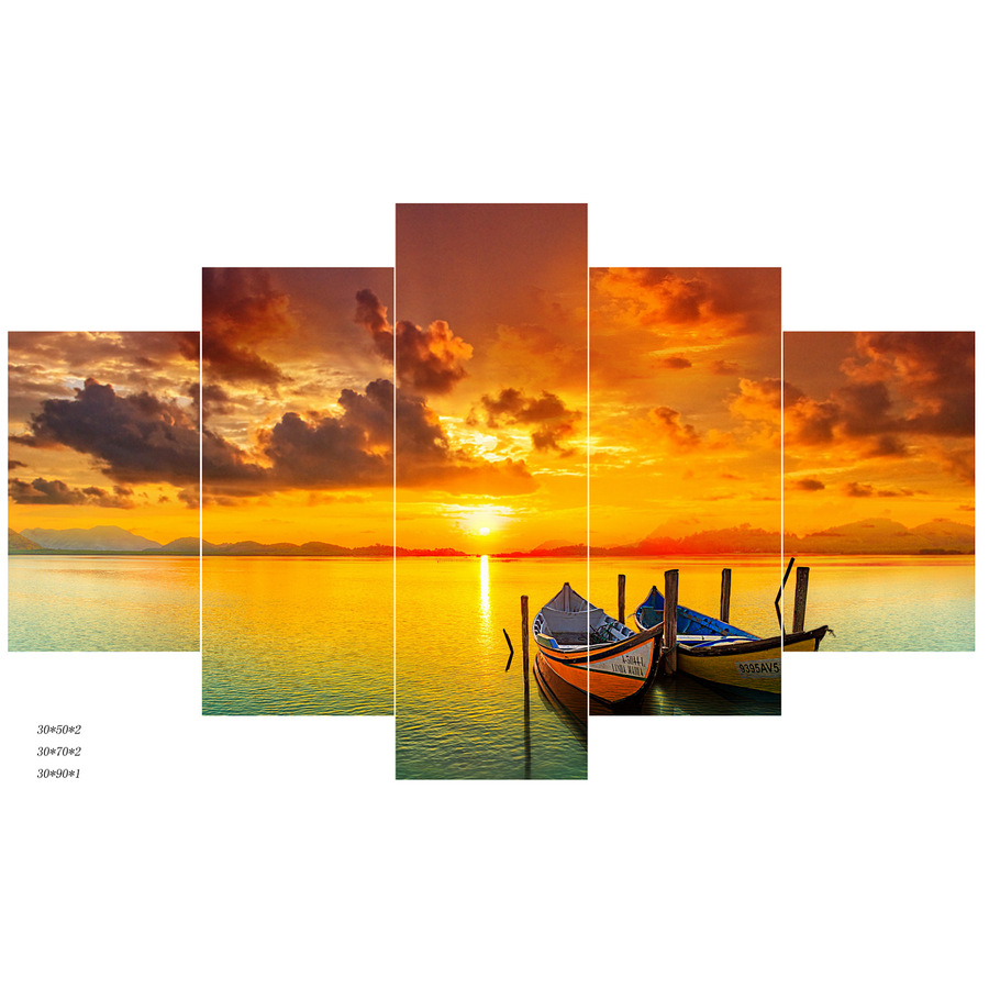 Kein Rahmen Schlepper Bild Sonnenuntergang Meer Ölgemälde Modulare ...