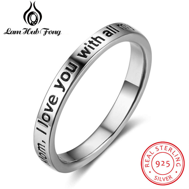 "Fashion Genuine 925 Sterling Silver Letter Rings for Women Engraved ""Mom,I Love"