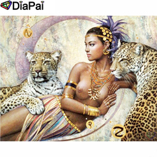 DIAPAI Diamond Painting 5D DIY 100% Full Square/Round Drill Leopard beauty Embroidery Cross Stitch 3D Decor A24799