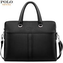 VICUNA POLO Solid Black Leather Men's Handbag Casual Business Mens Leather Briefcase Bag Cross Body Shoulder Bag Dropshiping цены