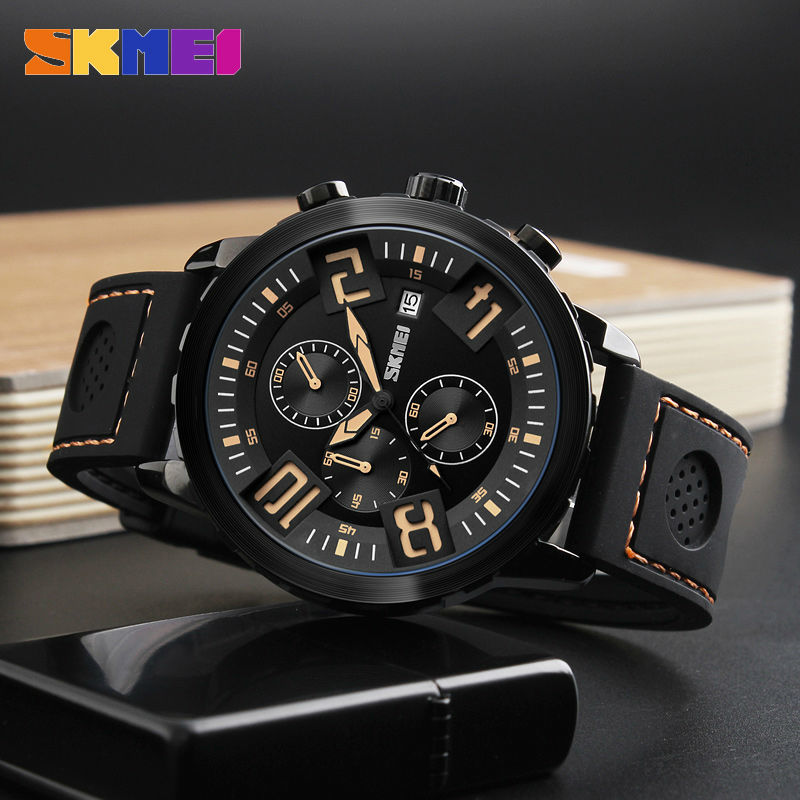 Sports Watches Men 30M Waterproof Calendar Quartz Wristwatches Silicone Strap Watch 2017 New SKMEI Brand Relogio Masculino 9153 new listing bellmers brand high grade watches leather strap men waterproof quartz watch relogio masculino sports wristwatches